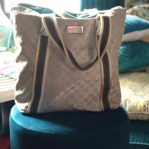 Silver Gucci canvas tote (donated by Kenya)
